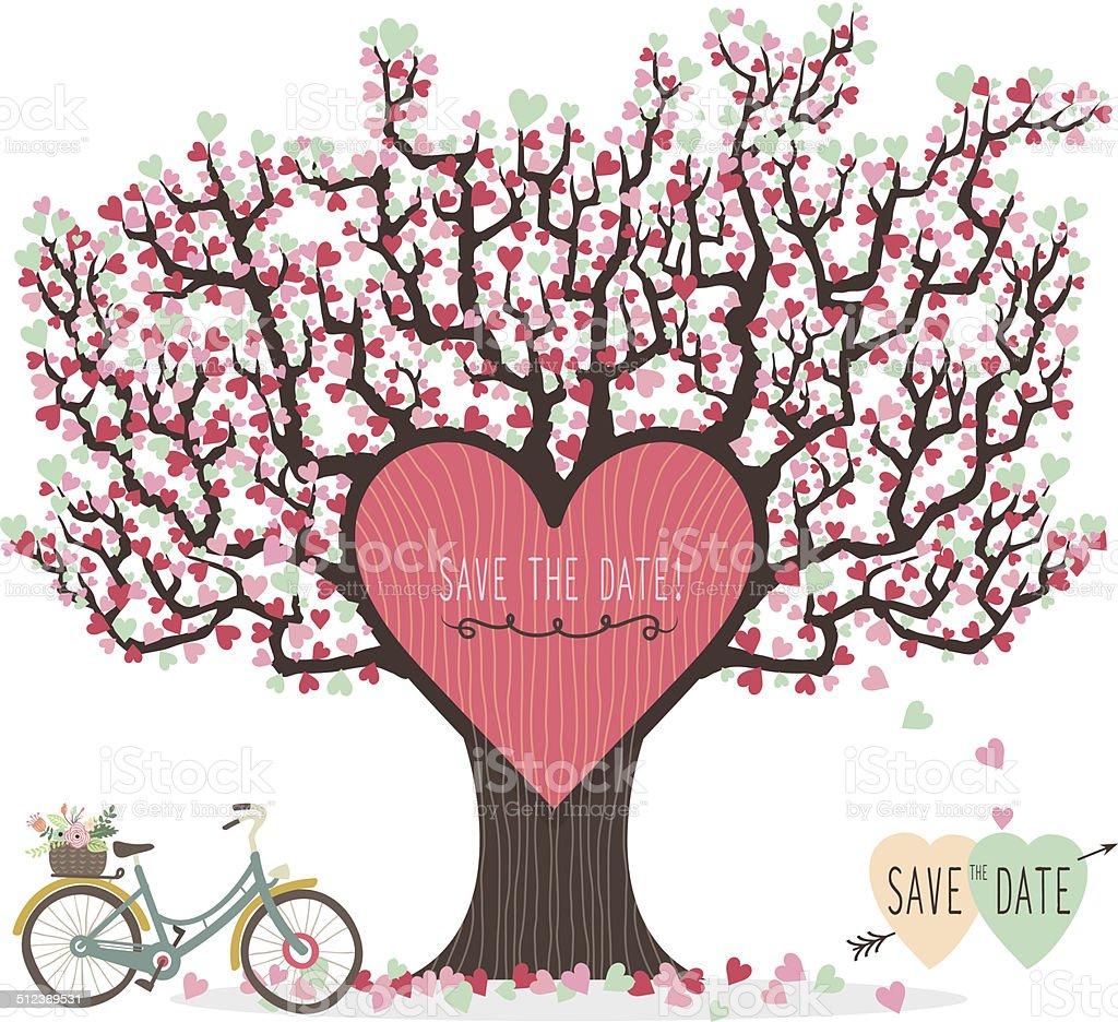 Wedding Tree Vector: Wedding Invitation Love Tree Illustration Stock Vector Art