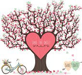 A Vector Illustration of Wedding Invitation Love Tree- Illustration.See Related Image: