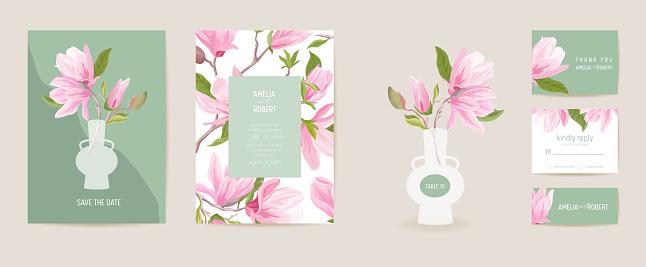 Wedding invitation magnolia vector card. Vintage botanical Save the Date set. Modern design template of flowers, leaves, blossom illustration. Exotic trendy cover, pastel graphic poster, brochure