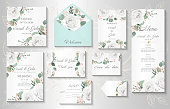 Wedding invitation, menu, information, label, card design with  gently watercolor flowers.