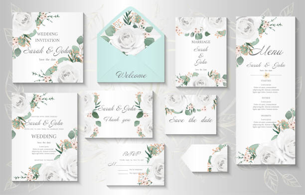 Wedding invitation, menu, information, label, card design with  gently watercolor flowers. Wedding invitation, menu, information, label, card design with  gently watercolor flowers. Template set. Vector illustration. wedding invitation stock illustrations