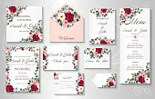 Wedding invitation, menu, information, label, card design with  gently watercolor flowers. Template set. Vector illustration.