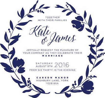 Wedding Invitation - Navy Floral Wreath