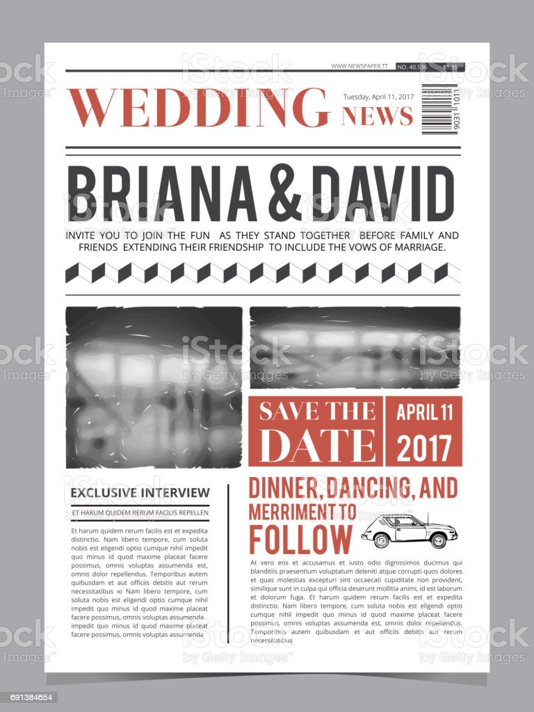Wedding Invitation On Newspaper Front Page. Design Vector Layout Template  Royalty Free Wedding Invitation