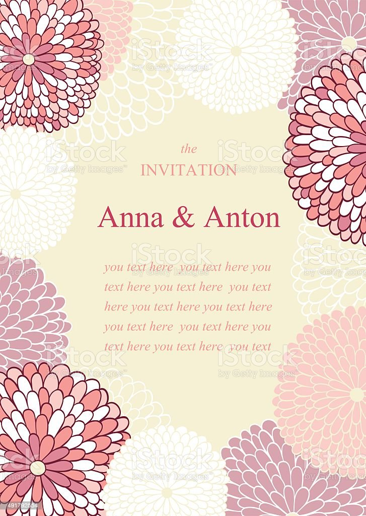 Wedding invitation on the theme of flowers vector art illustration