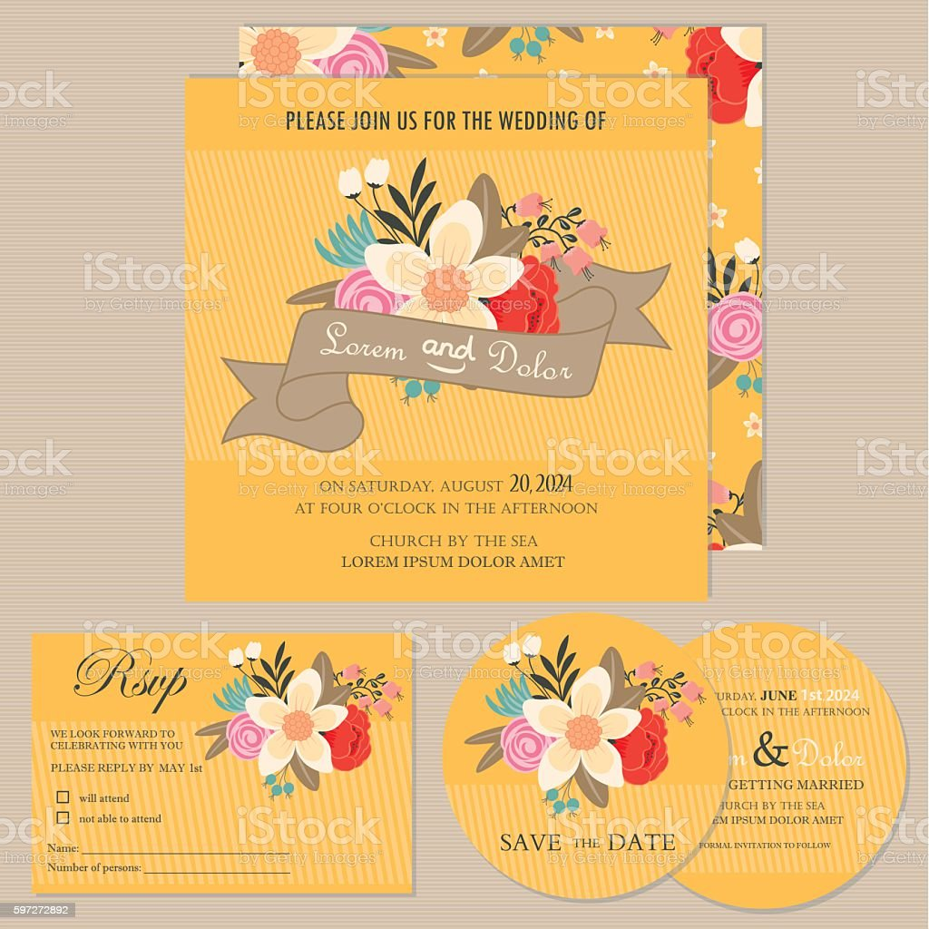 Wedding invitation or announcement card set Lizenzfreies wedding invitation or announcement card set stock vektor art und mehr bilder von altertümlich