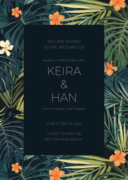 Mariage invitation ou carte design avec des fleurs tropicales exotiques et - Illustration vectorielle