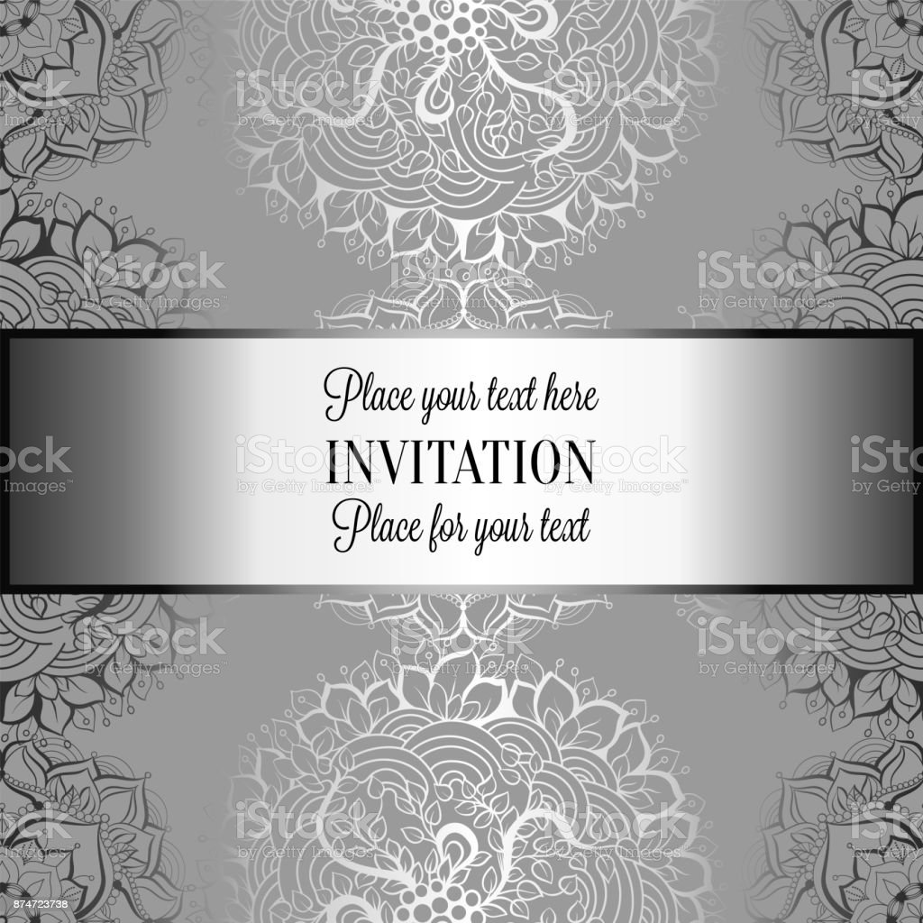 Backdrops Silver Wedding Invitations: Wedding Invitation Or Card Intricate Mandala Background