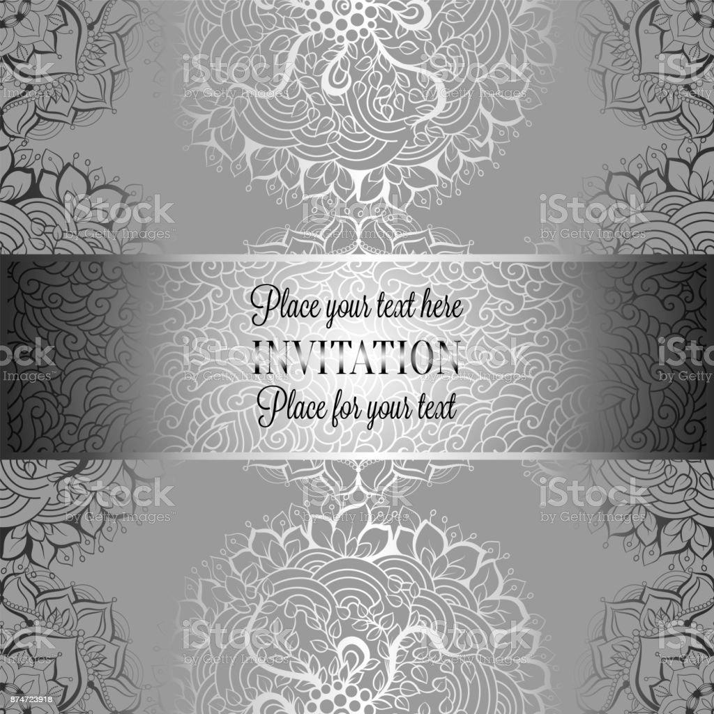 Silver Indian Wedding Invitation: Wedding Invitation Or Card Intricate Mandala Background