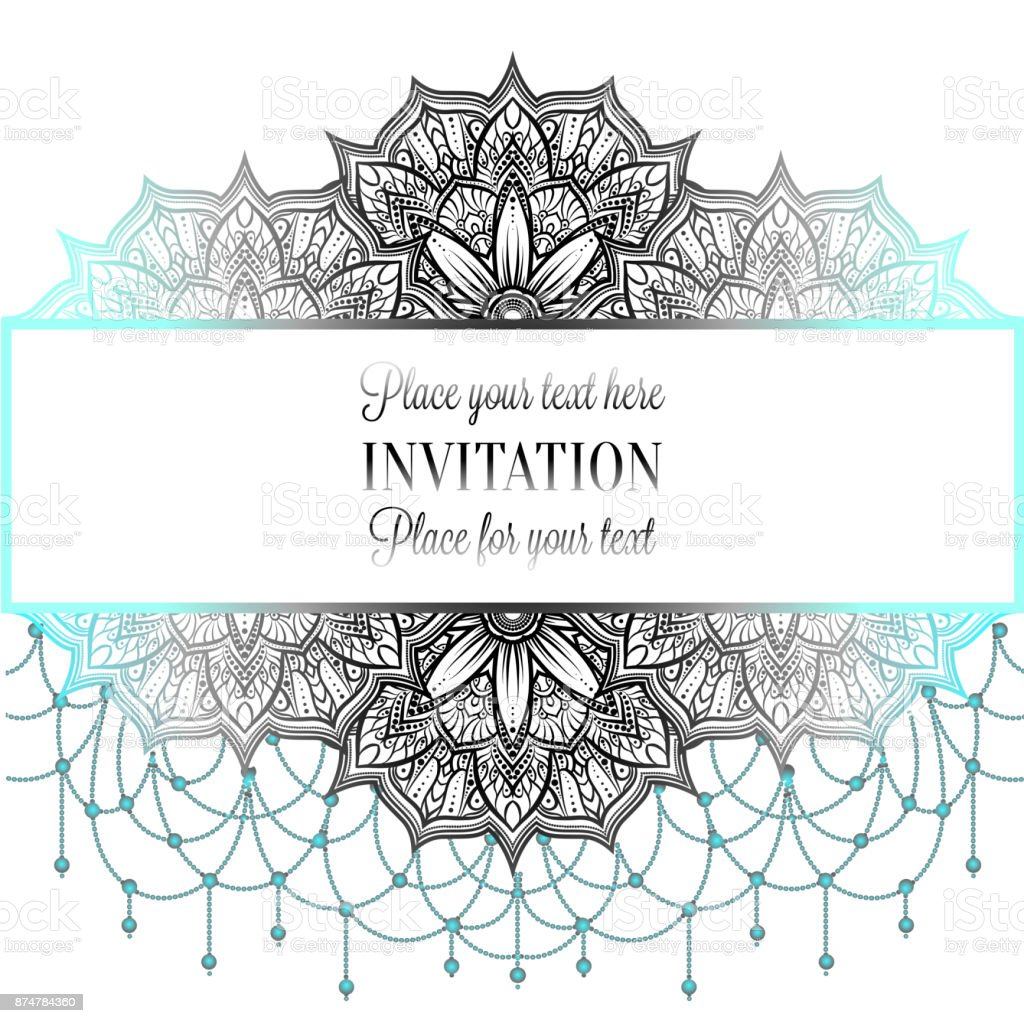 Wedding Invitation Or Card Intricate Mandala With Beads Background ...
