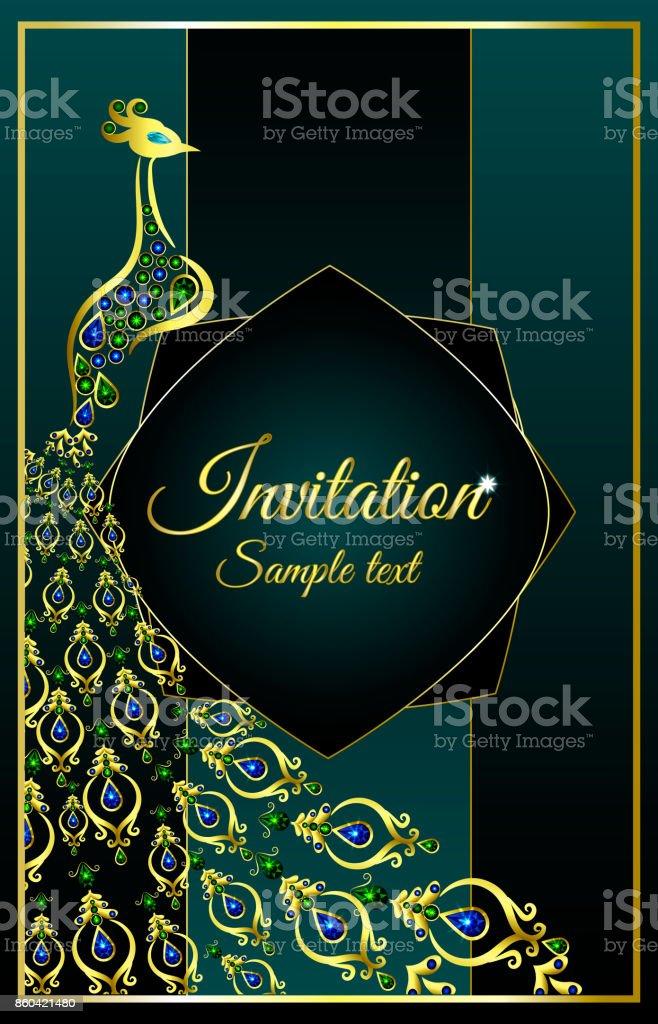 Hochzeit Einladung Oder Karte Mit Einem Pfau Jeweled Auf Abstrakten