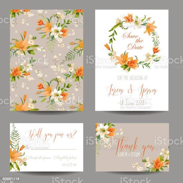 Wedding invitation or congratulation card set autumn lily floral vector id609921118?b=1&k=6&m=609921118&s=612x612&h=2wzlptcorvmj3dkkk0hzp1euyeu3r0bb3vlhd6l7q4c=