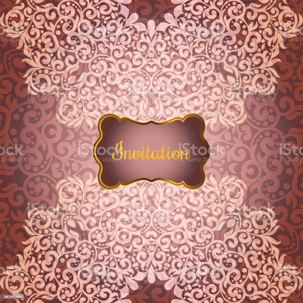 Hochzeitseinladung Oder Grusskarte Mit Blumen Mandala Platz Fur Ihren
