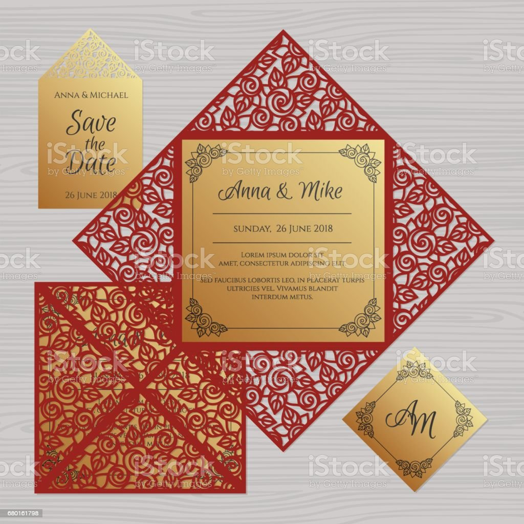 Wedding Invitation Or Greeting Card With Floral Ornament Paper Lace ...