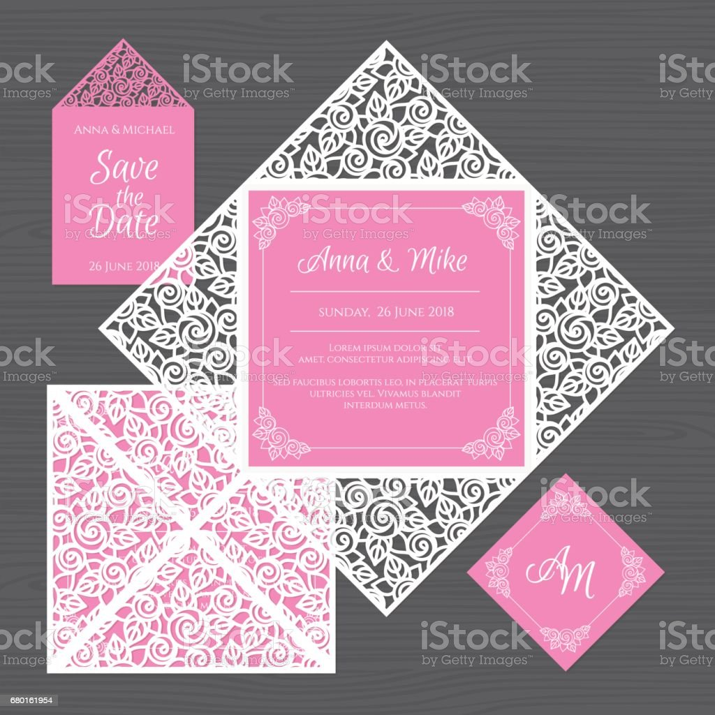 wedding invitation or greeting card with floral ornament paper lace