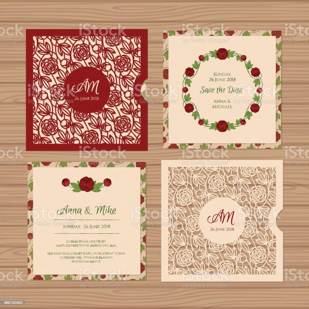 Wedding Invitation Or Greeting Card With Flower Ornament Cut Laser ...