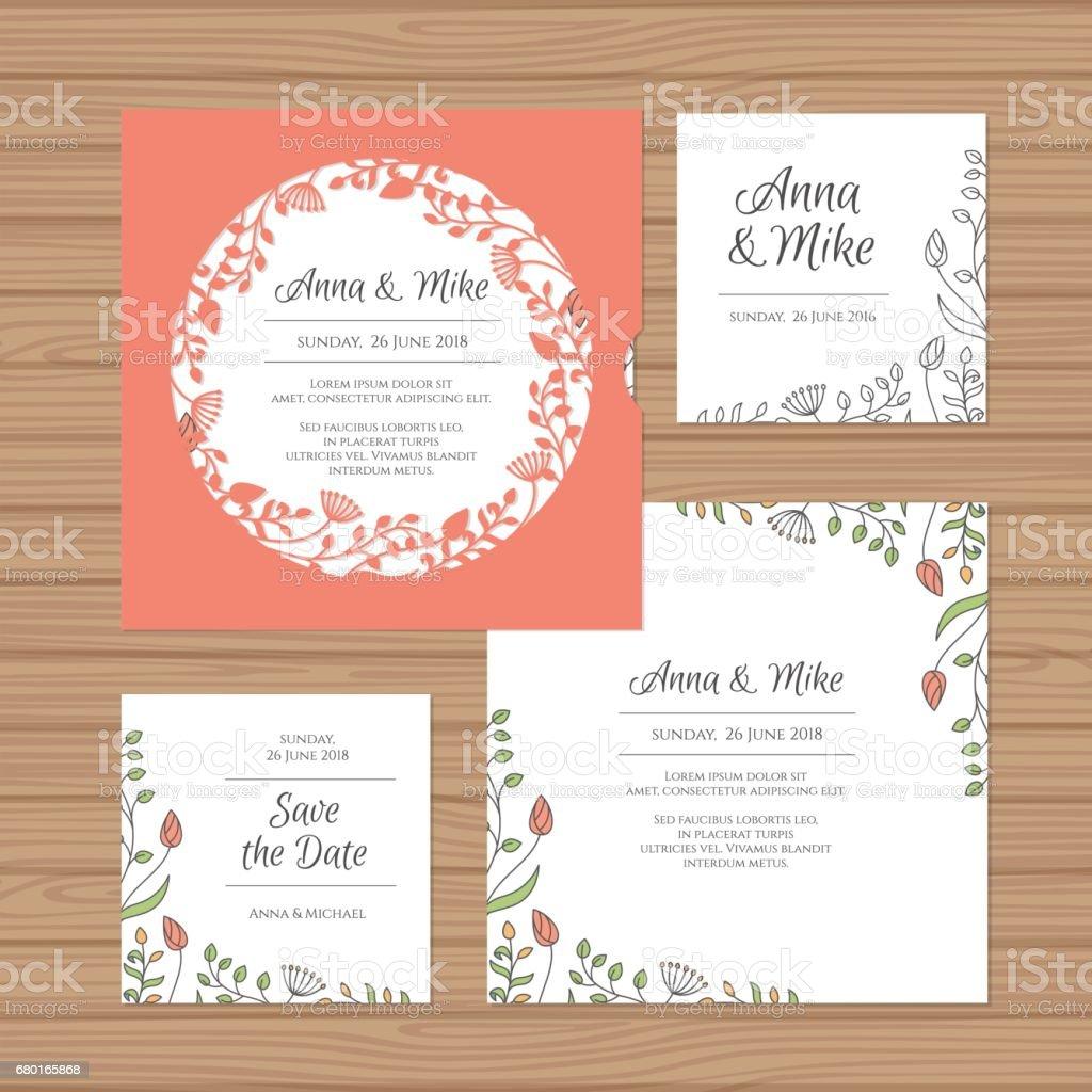 Hochzeitseinladung Oder Grußkarte Mit Blumen Kranz. Schneiden Sie Laser  Quadratischen Briefumschlag Vorlage. Hochzeit
