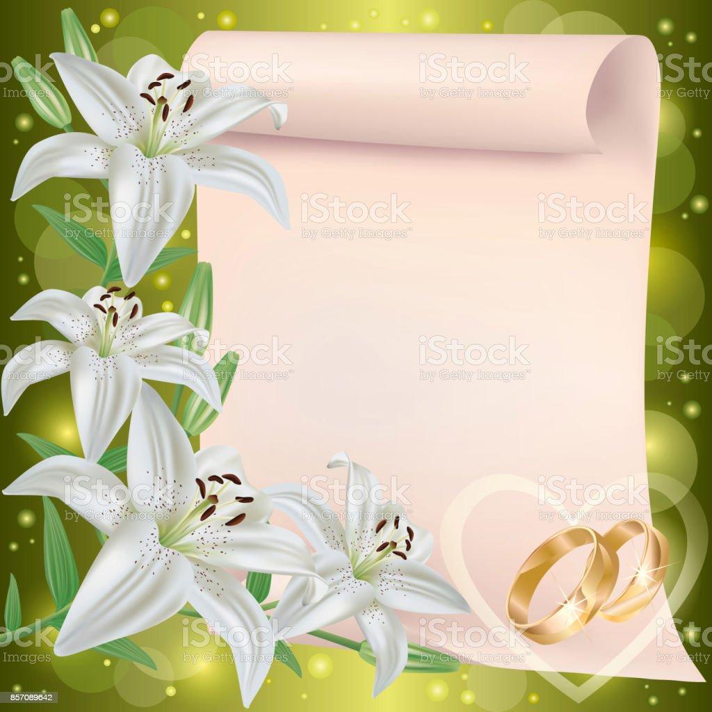 Fairepart De Mariage Ou Carte De Voeux Avec Des Fleurs De Lys