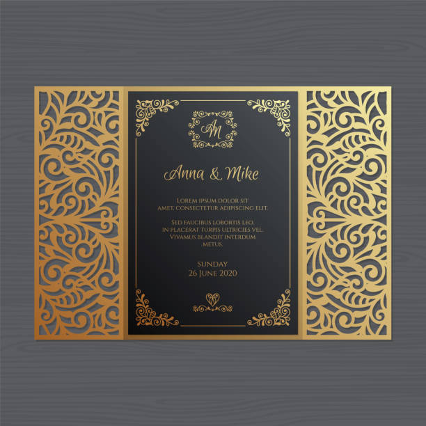 Wedding invitation or greeting card with vintage ornament. Paper lace envelope template. Wedding invitation envelope mock-up for laser cutting. Vector illustration. Luxury wedding invitation or greeting card with vintage floral ornament. Paper lace envelope template. Wedding invitation envelope mock-up for laser cutting. Vector illustration. decorative laser cut set stock illustrations