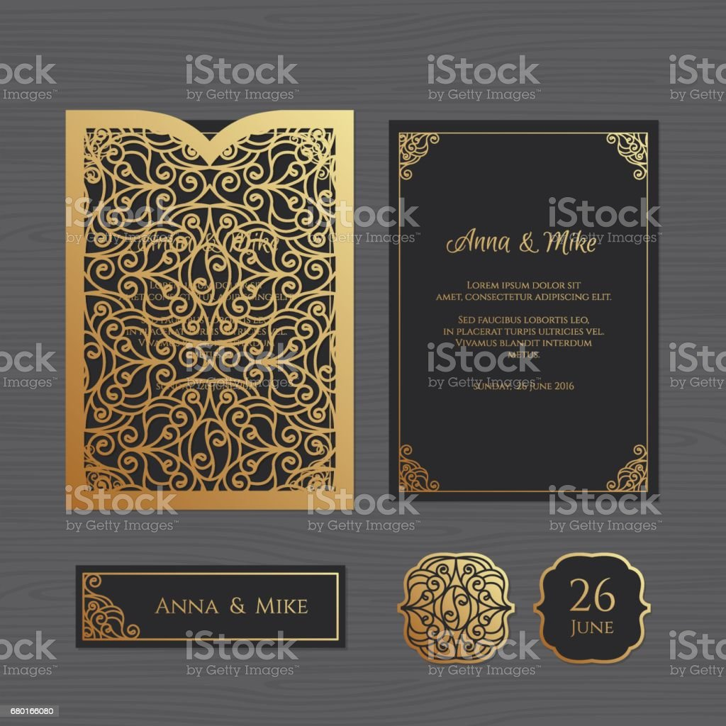 Wedding invitation or greeting card with vintage ornament. Paper lace envelope template. Wedding invitation envelope mock-up for laser cutting. Vector illustration. vector art illustration