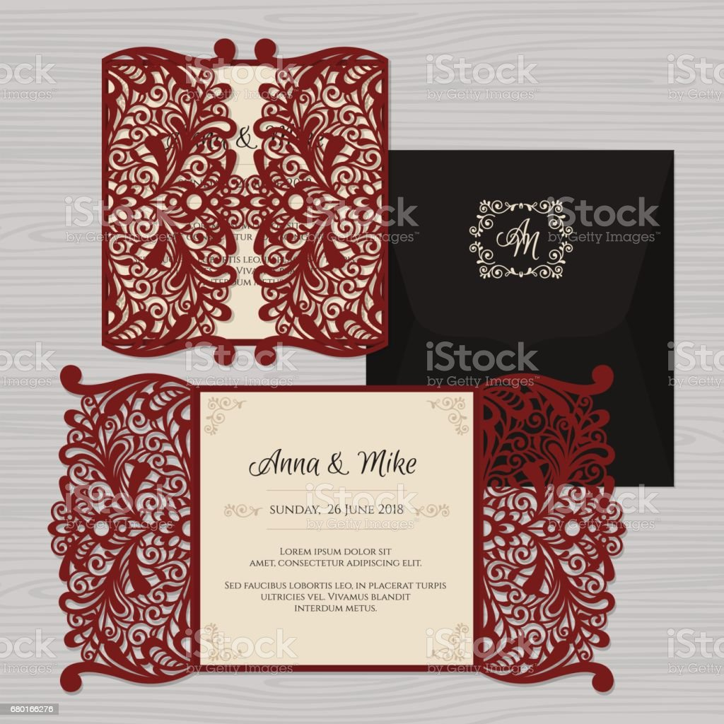 Peony Lace Envelope Wedding invitations Card Template cutting
