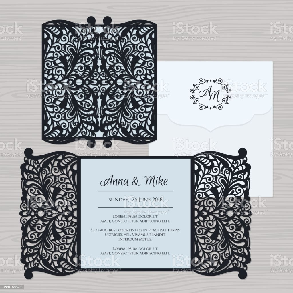 Wedding Invitation Or Greeting Card With Vintage Ornament Paper Lace - Wedding invitation envelope template free