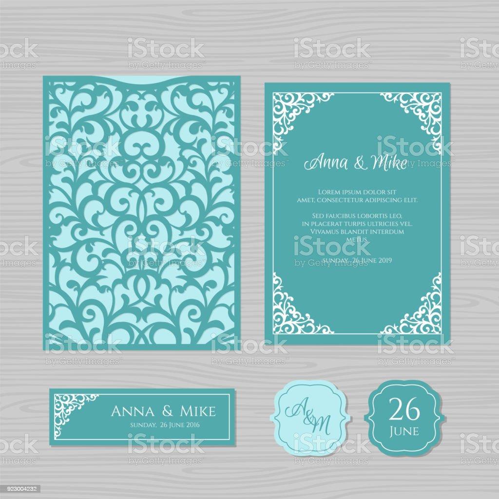 Hochzeitseinladung Oder Grusskarte Mit Vintage Ornament