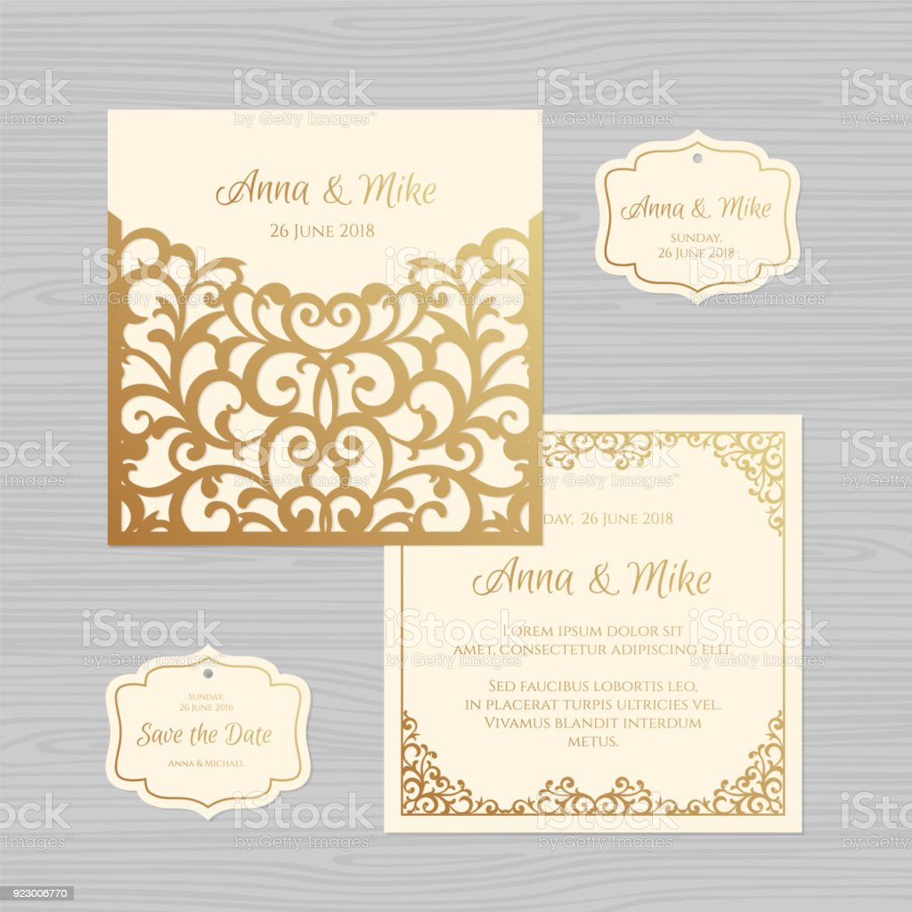 Wedding Invitation Or Greeting Card With Vintage Ornament Paper Lace Envelope Template Mock Up For Laser Cutting