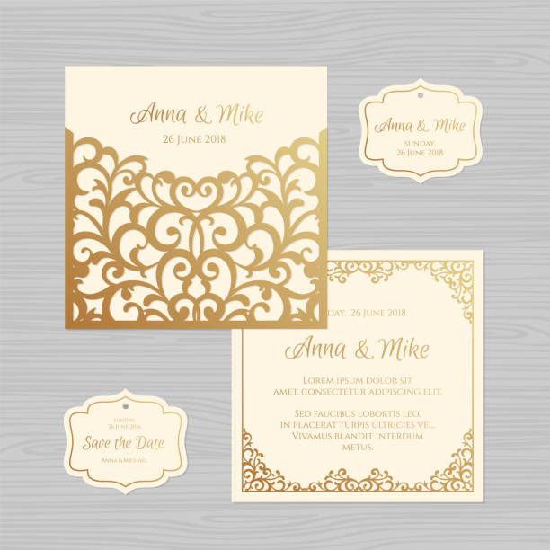 Wedding invitation or greeting card with vintage ornament. Paper lace envelope template. Wedding invitation envelope mock-up for laser cutting. Vector illustration. Wedding invitation or greeting card with vintage ornament. Paper lace envelope template. Wedding invitation envelope mock-up for laser cutting. Vector illustration. decorative laser cut set stock illustrations