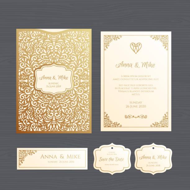 Hochzeitseinladung oder Grußkarte mit Vintage Ornament. Papierschablone Spitze Umschlag. Hochzeit Einladung Umschlag Mock-up für das Laserschneiden. Vektor-Illustration. – Vektorgrafik