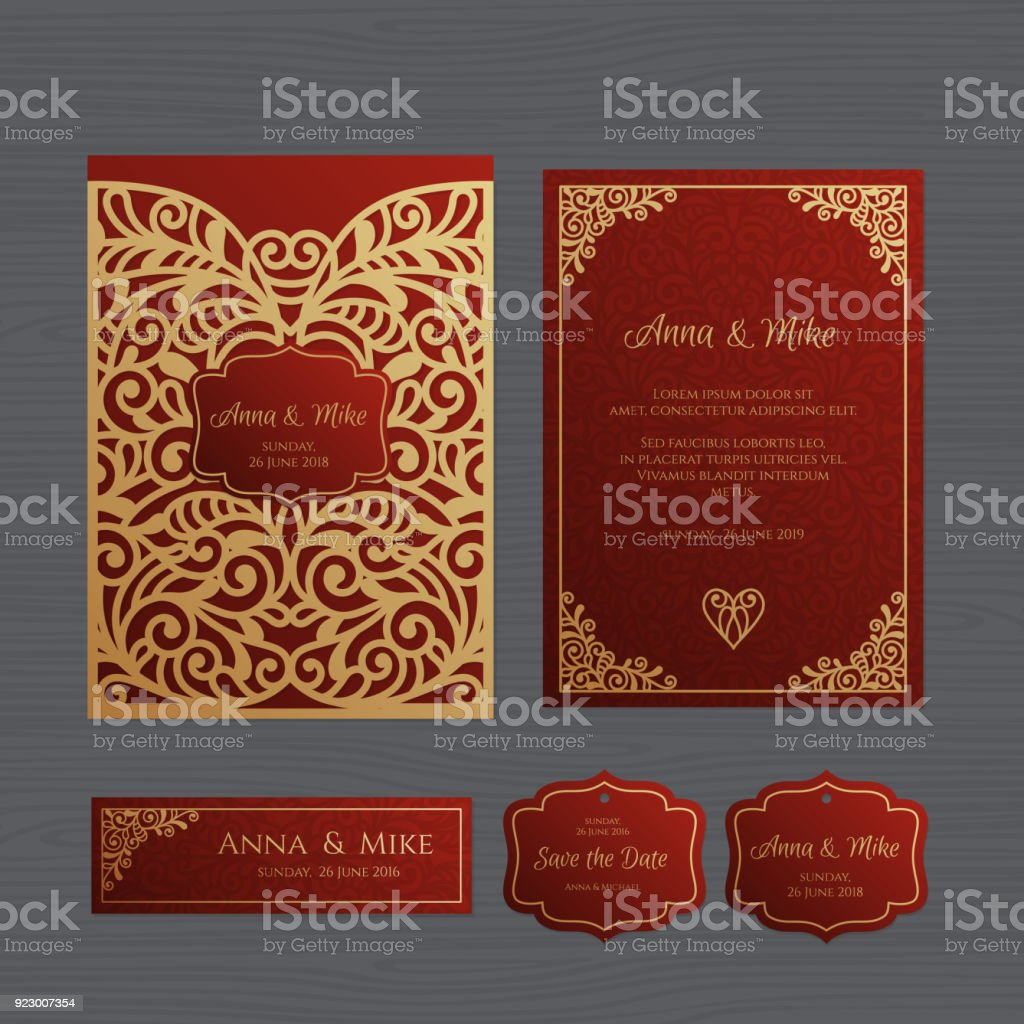 Wedding Invitation Or Greeting Card With Vintage Ornament Paper Lace ...