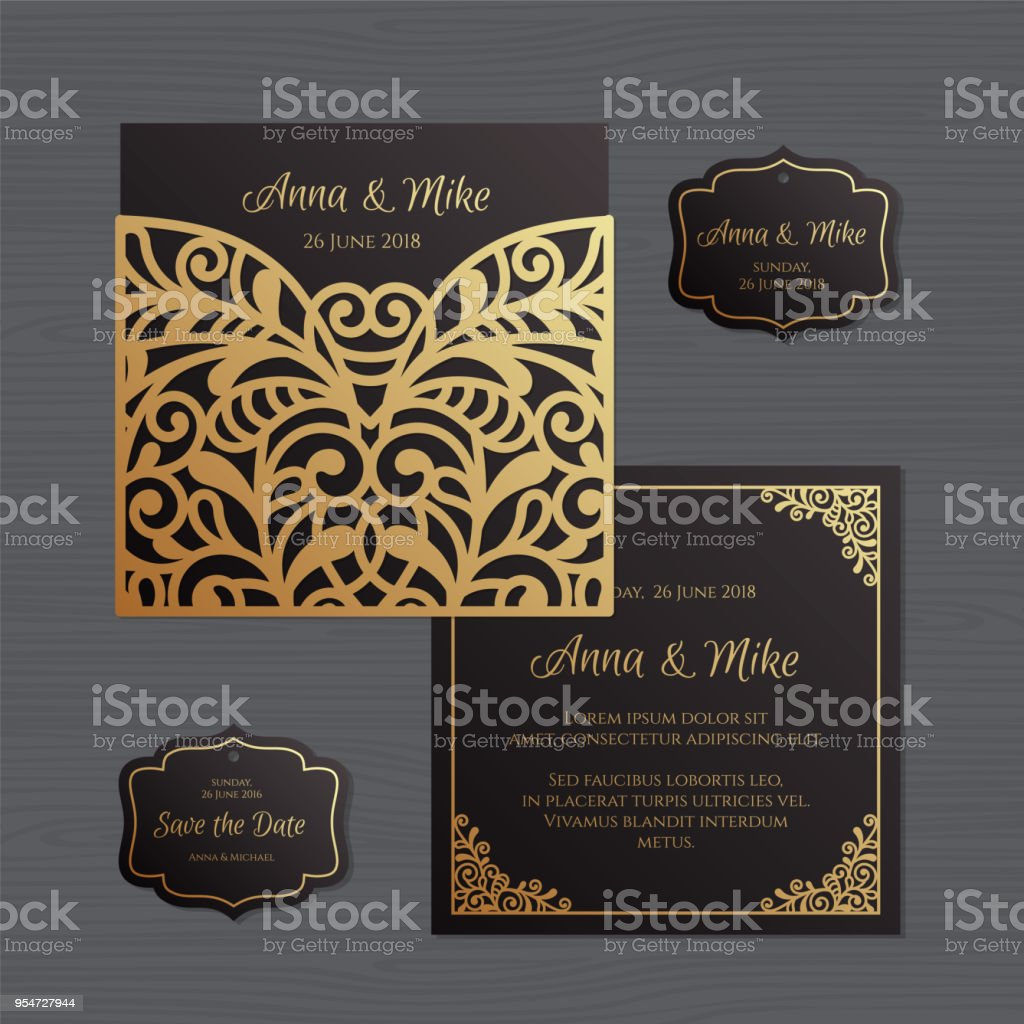 Wedding invitation or greeting card with vintage ornament paper lace wedding invitation or greeting card with vintage ornament paper lace envelope template wedding invitation stopboris Images