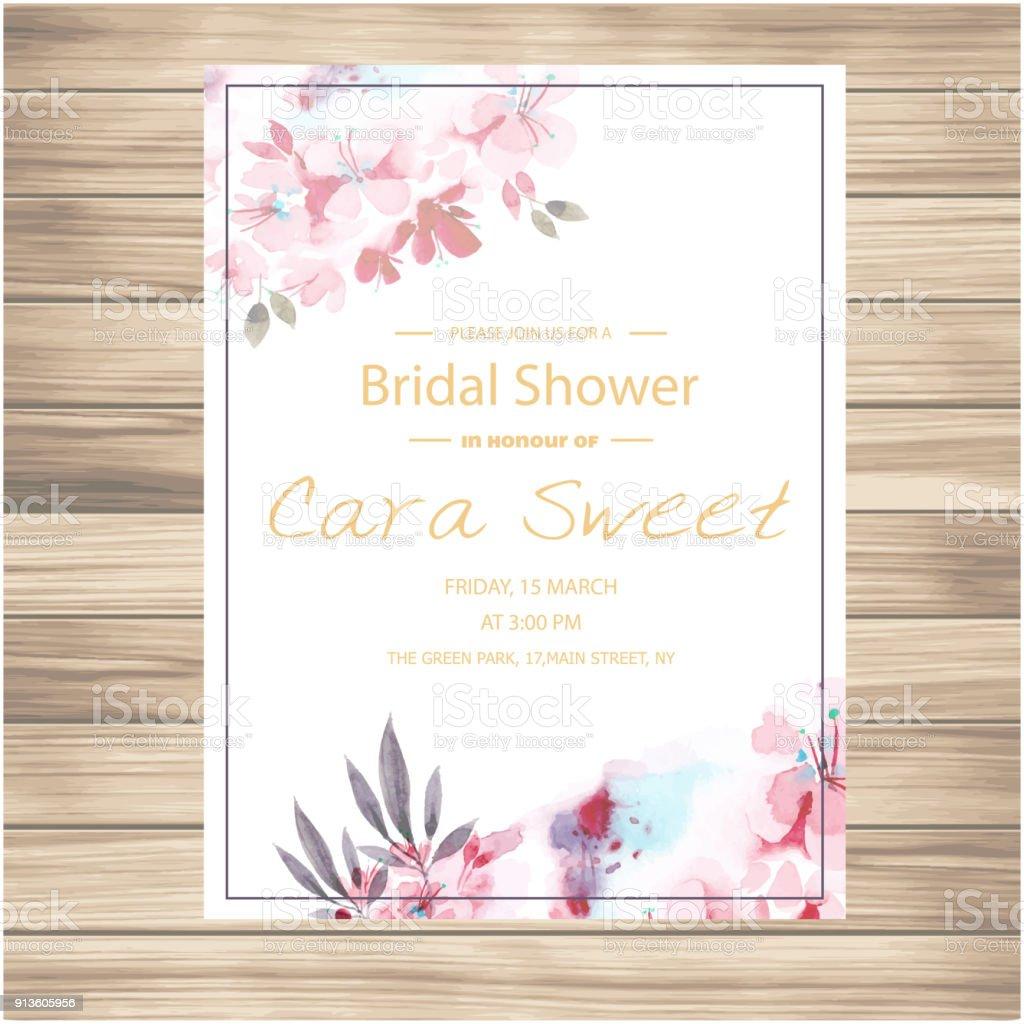 Hochzeit Einladung Rosa Blumen Vanille Vektor Hintergrundbild Stock