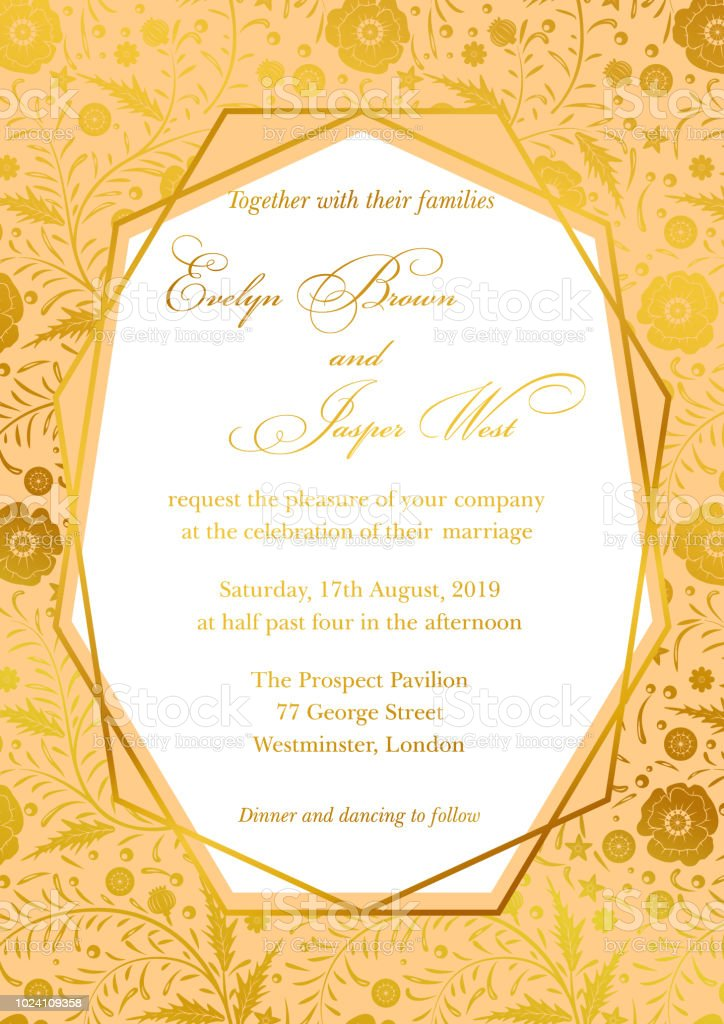 Wedding Invitation Poppy Floral Invite Card Design With Geometrical