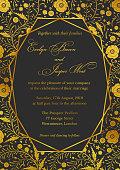 Wedding Invitation, poppy floral invite card Design with Geometrical art lines, golden foil border, frame. Ornate gold flowers on a black noble background.