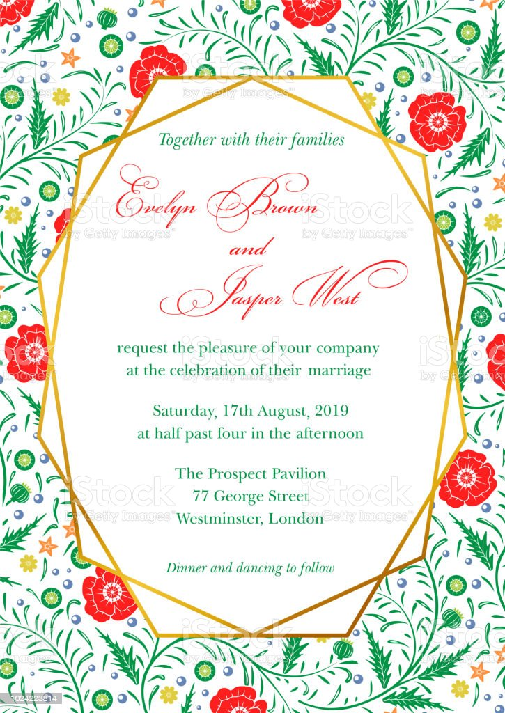 Wedding Invitation Poppy Floral Invite Card Design With
