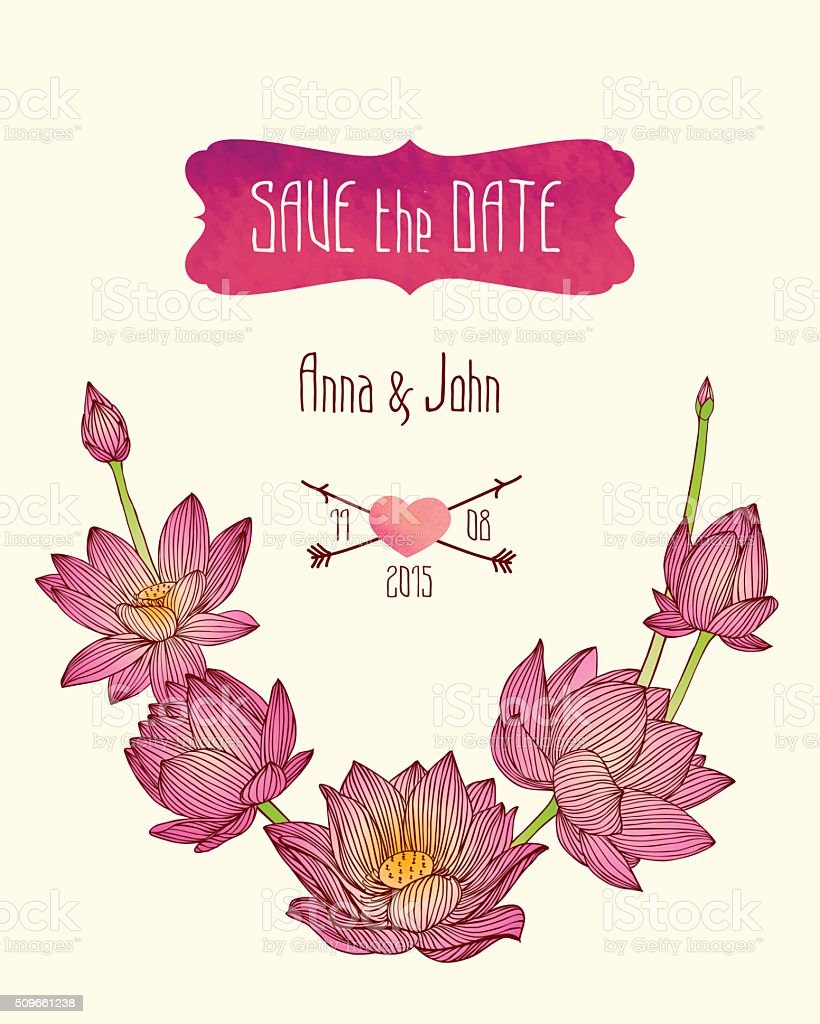 Wedding Invitation Save The Date Template With Lotus Flowers Stock ...