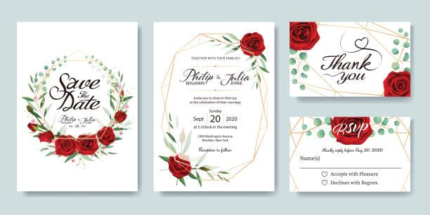 illustrazioni stock, clip art, cartoni animati e icone di tendenza di wedding invitation, save the date, thank you, rsvp card design template. vector. - rosa rossa