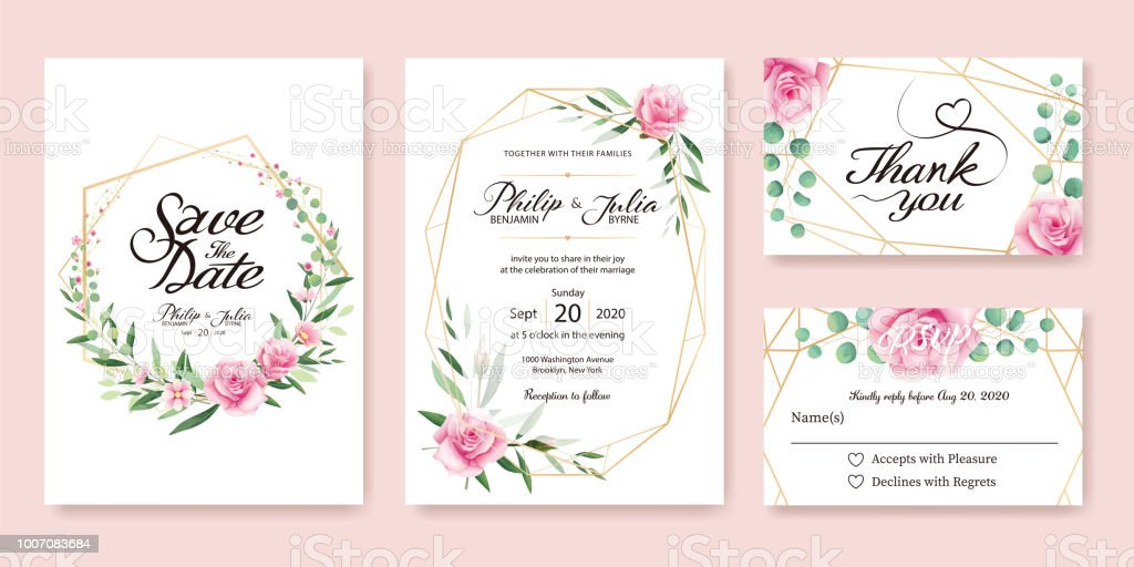 Wedding Invitation, save the date, thank you, rsvp card Design template. Vector. Summer flower, pink rose, silver dollar, olive leaves, Wax flower. vector art illustration