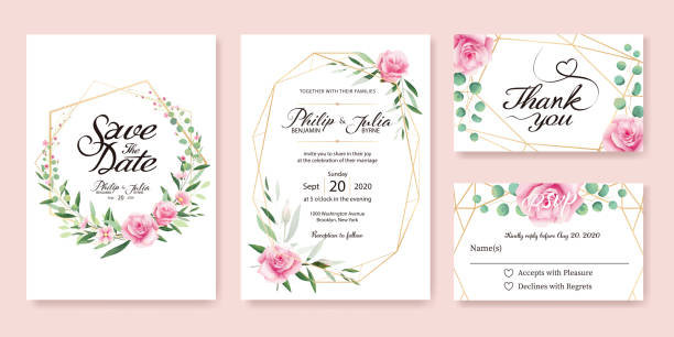 wedding invitation, save the date, thank you, rsvp card design template. vector. summer flower, pink rose, silver dollar, olive leaves, wax flower. - thank you background stock illustrations