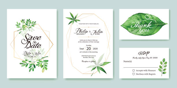 wedding invitation, save the date, thank you, rsvp card design template. silver dollar, olive leaves. leaf. - thank you background stock illustrations