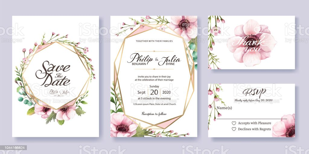 Wedding Invitation Save The Date Thank You Rsvp Card Design
