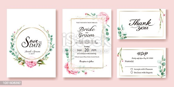 Wedding Invitation, save the date, thank you, rsvp card Design template. Vector. Pink rose, silver dollar leaves, wax flower. Watercolor style.