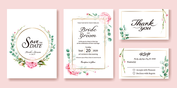 Wedding Invitation, save the date, thank you, rsvp card Design template. Vector. Pink rose, silver dollar leaves. Watercolor style. clipart