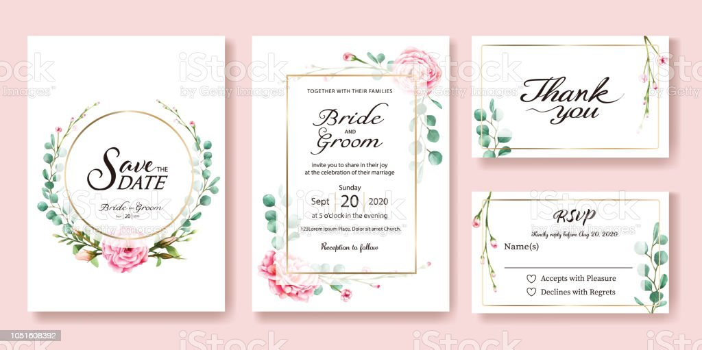 Wedding Invitation, save the date, thank you, rsvp card Design template. Vector. Pink rose, silver dollar leaves. Watercolor style. vector art illustration