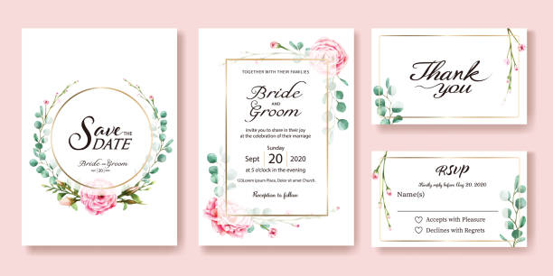 wedding invitation, save the date, thank you, rsvp card design template. vector. pink rose, silver dollar leaves. watercolor style. - marriage stock illustrations