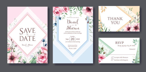 wedding invitation, save the date, thank you, rsvp card design template. vector. queen of sweden rose flower, leaves, anemone plants. - thank you background stock illustrations