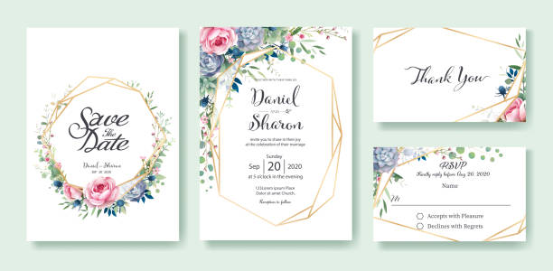 wedding invitation, save the date, thank you, rsvp card design template. queen of sweden rose flower, leaves, succulent plant. vector. - thank you background stock illustrations