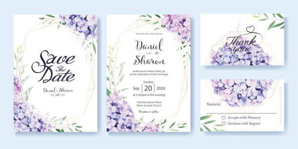 wedding invitation, save the date, thank you, rsvp card design template. hydrangea flowers, olive leaves. watercolor style. - thank you background stock illustrations