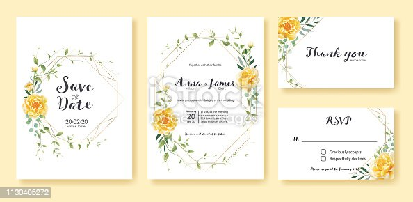 istock Wedding Invitation, save the date, thank you, rsvp card Design template. Yellow flower, silver dollar, olive leaves, Ivy plants. 1130405272